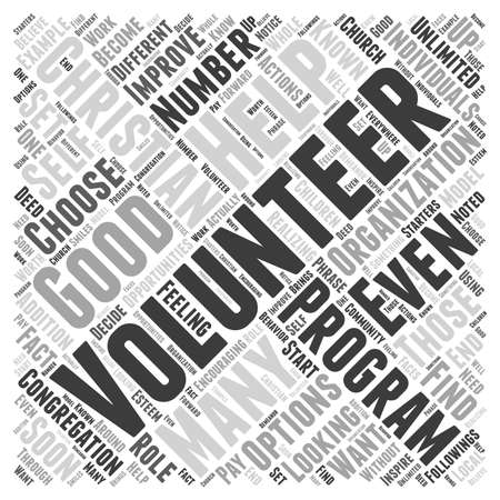 Lo Voluntario con una organización cristiana o programa puede hacer por usted el concepto de nube de palabras Ilustración de vector