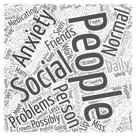 What is Social Anxiety word cloud concept Ilustração