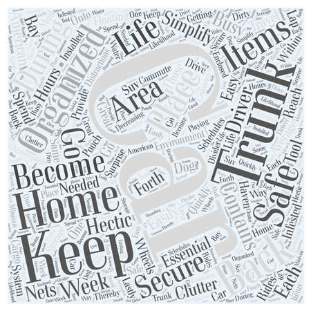Keep your Car Organized and Simplify Your Life on the Go word cloud concept Vettoriali