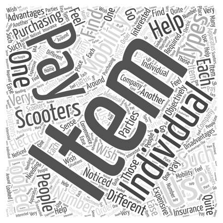 used: Used Electric Mobility Scooters word cloud concept Illustration