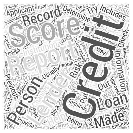 credit report: understanding credit report score word cloud concept