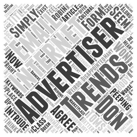 Internet Advertising Trends U Won t teleurgesteld word cloud concept Stock Illustratie