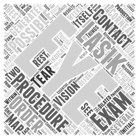 What is the Initial Lasik Eye Exam Like word cloud concept