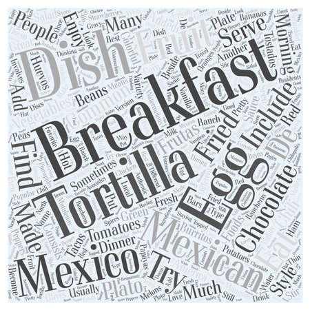 What Mexico Eats for Breakfast word cloud concept Çizim