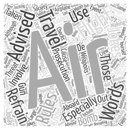 hassle: In Flight Air Travel Rules word cloud concept Illustration