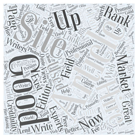 article marketing: How to come up with a good site through article marketing word cloud concept Illustration