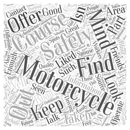 What to Look for in a Motorcycle Safety Course word cloud concept Illustration