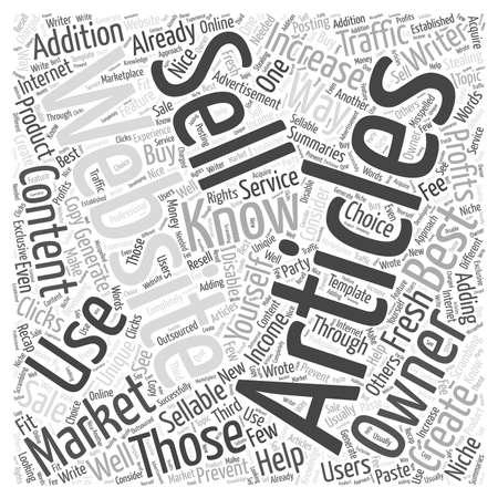 How to Market Sellable Articles word cloud concept Ilustração