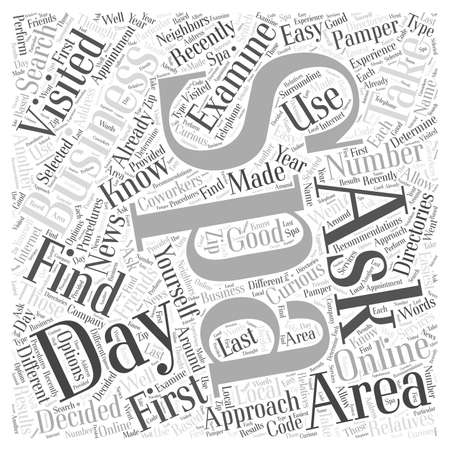 How to Find Day Spas in Your Area word cloud concept Ilustrace