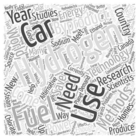 Hydrogen Fuel for Cars Using Byproducts word cloud concept Ilustração
