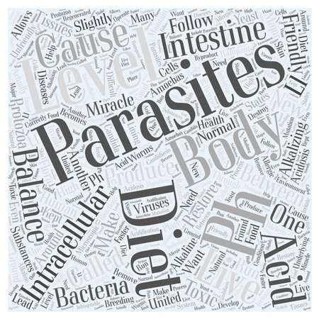 intracellular: Parasites and the pH miracle diet word cloud concept Illustration
