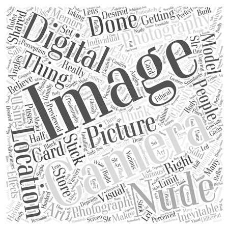 Concepto de desnudo digital fotografía palabra nube Foto de archivo - 67486314