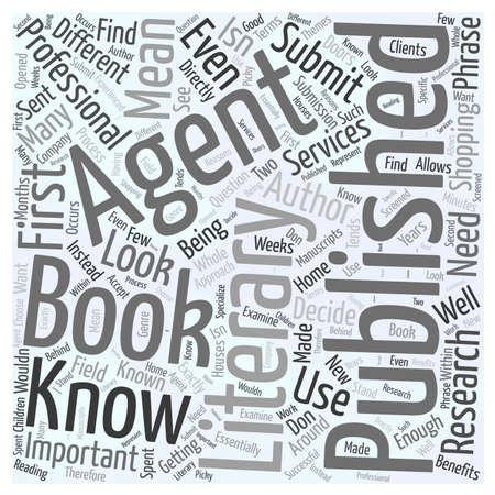 文学エージェントについて知っている単語雲概念にあなたの本公開されて必要なものを取得  イラスト・ベクター素材