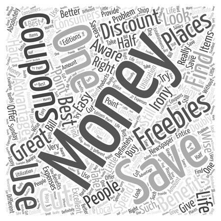 SM money saving coupon word cloud concept