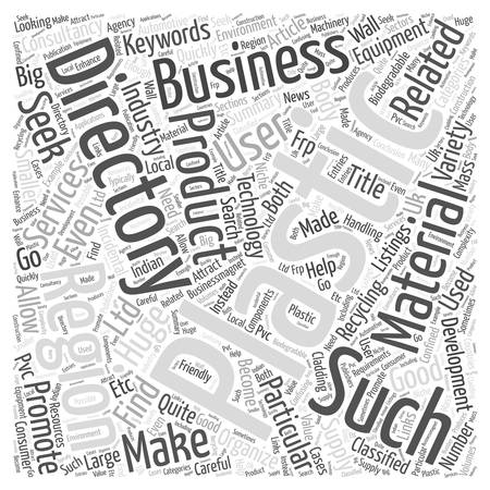 Plastics Directory for Plastic Products Technology and Equipment word cloud concept