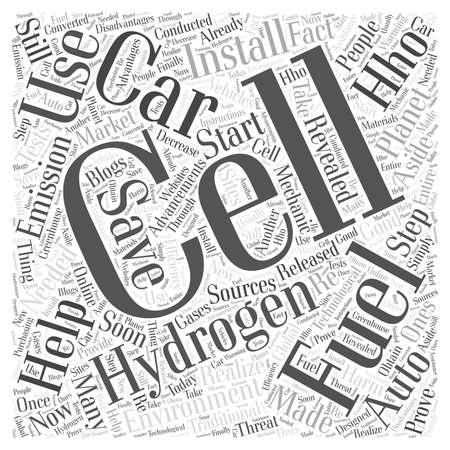 HIDROGENO: Celdas de Combustible de Hidrógeno Coches palabra concepto de la nube Vectores