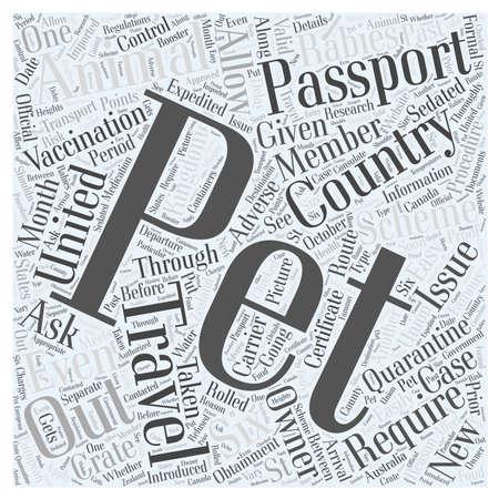 wścieklizna: Pet Passport and ZWIERZĘTA Koncepcja cloud słowo Ilustracja