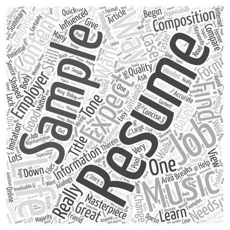 Sample Resumes Are A Great Way To Begin Composing Your Own word cloud concept Illustration