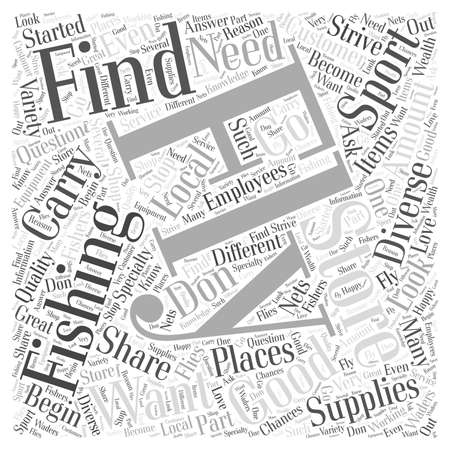 local supply: Fly Fishing Store word cloud concept Illustration
