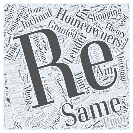when: Comparison Shopping When Re Financing word cloud concept