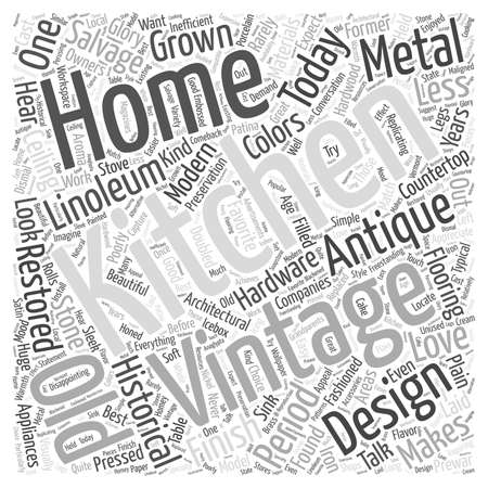 homes: Kitchens and Restoration in Vintage Homes word cloud concept Illustration