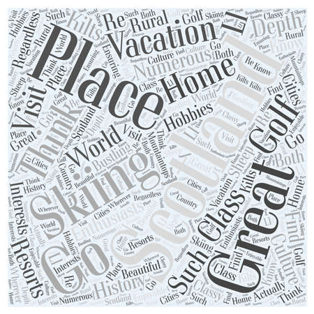 wherever: Skiing In Scotland word cloud concept Illustration