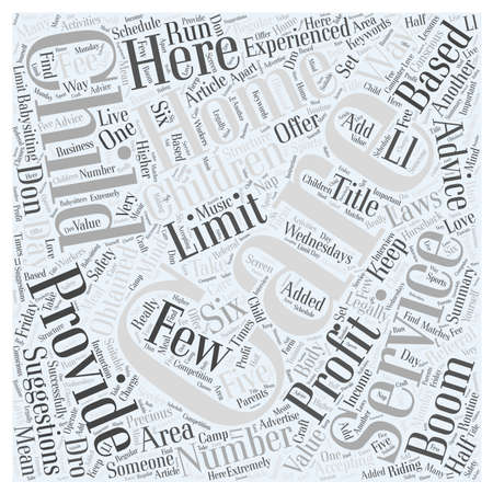 providing: Profit By Providing Home Based Child Care Services word cloud concept Illustration