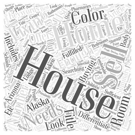 Differentiate in house buying the wants and the needs word cloud concept Ilustração