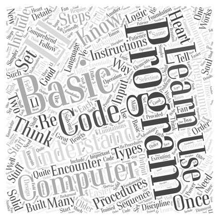 computer programming fundamentals word cloud concept Vektoros illusztráció