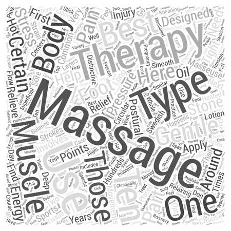 Ten of the Best Types of Massage Therapy word cloud concept Ilustração