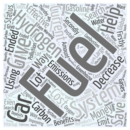 Save Money by Using a Hydrogen Fuel System word cloud concept Ilustração