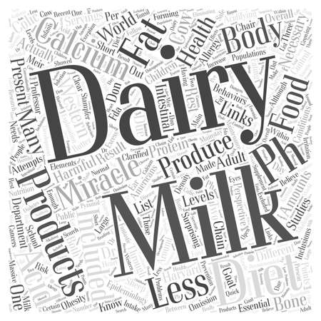 Dairy products and the pH miracle diet word cloud concept Çizim