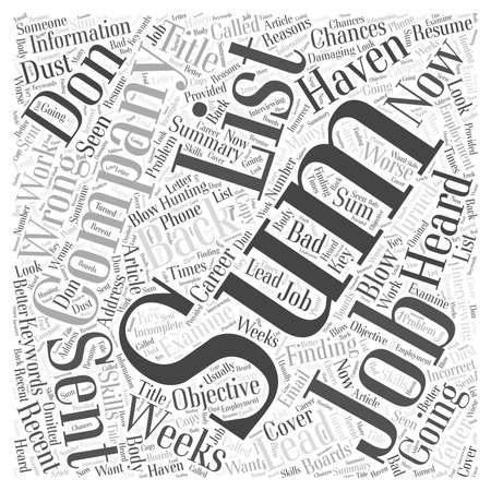 Finding Work Don t Blow Your Chances word cloud concept