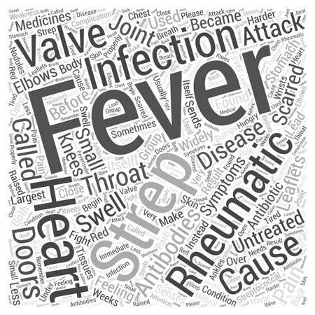 Rheumatic Fever and Heart Disease word cloud concept Vettoriali