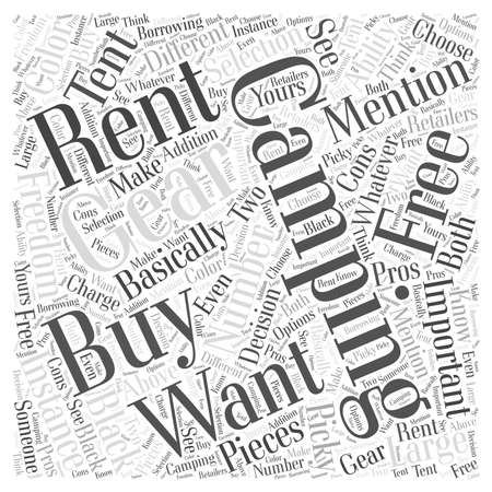 Should You Buy or Rent Your Camping Gear word cloud concept