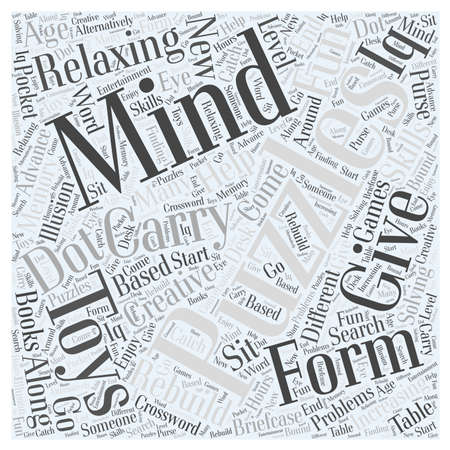 desk toy: Relaxing with Mind Puzzles word cloud concept