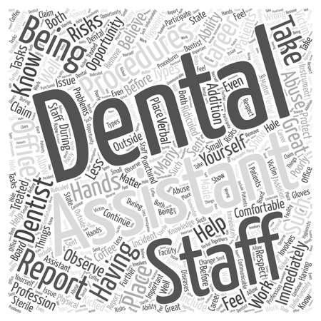 Risks of Being a Dental Assistant word cloud concept