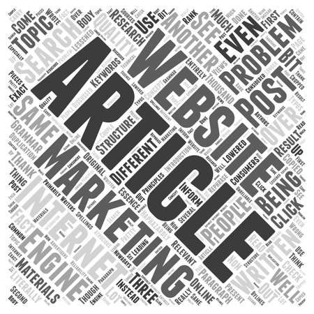 article marketing: Problems in article marketing word cloud concept