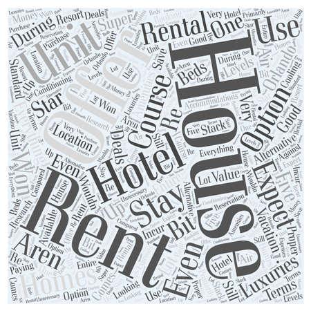 Het huren van Orlando Homes een alternatieve optie, terwijl op vakantie woord wolk concept Stock Illustratie