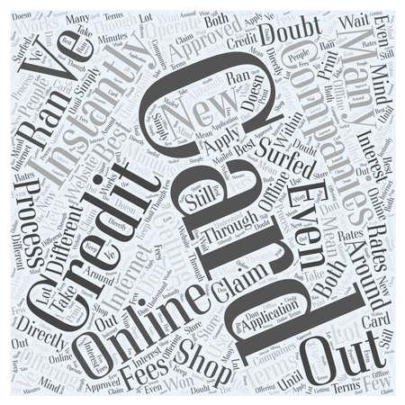 Direct goedgekeurd worden Online woordwolk concept Stock Illustratie
