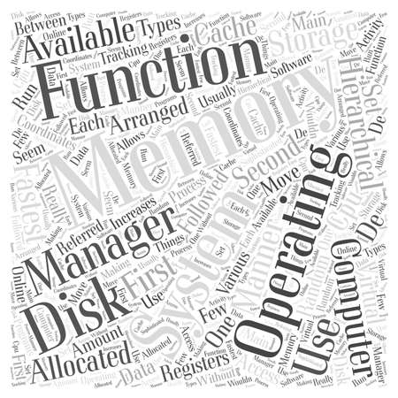 Functions of Operating Systems word cloud concept Illustration