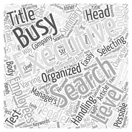 Executive Search Para la gente ocupada concepto de nube de palabras Foto de archivo - 67486760