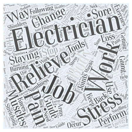 Electricians Guide For Staying Healthy On The Job word cloud concept Illusztráció