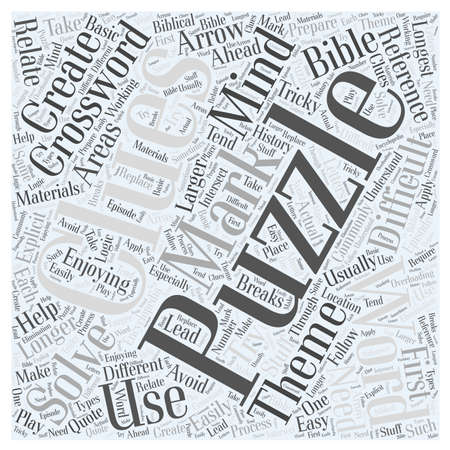 clues: Enjoying Crossword Mind Puzzles word cloud concept Illustration