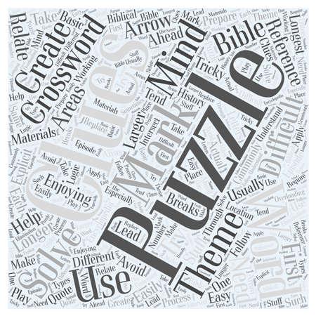 clues: Enjoying Crossword Mind Puzzles word cloud concept Illustration