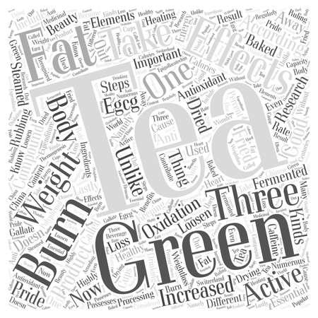 Green Tea Can Loosen Weight word cloud concept Çizim