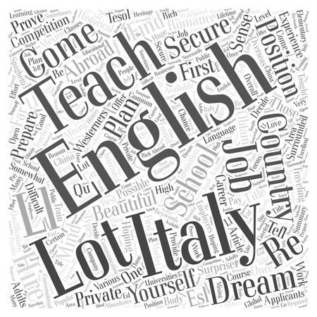 Mixing Spaghetti And English Teach English In Italy word cloud concept