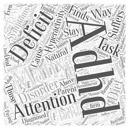 hyperactivity: Natural Remedies for Attention Deficit Hyperactivity Disorder word cloud concept