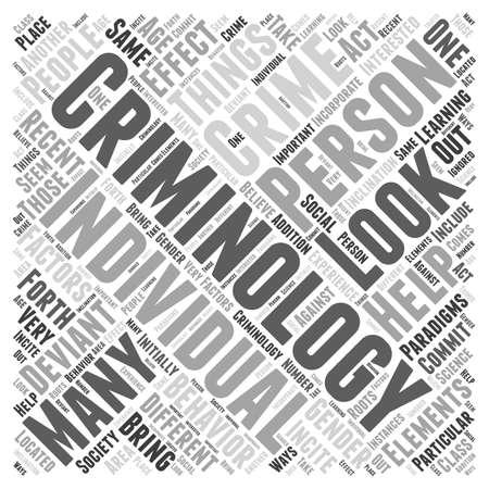 criminology: Recent Paradigms in Criminology word cloud concept Illustration