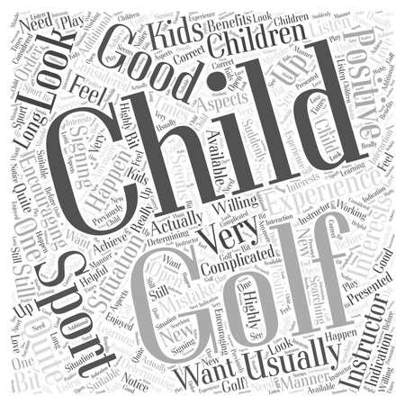 Niños y golf Buen deporte de un concepto de nube de palabras de error Foto de archivo - 67486874